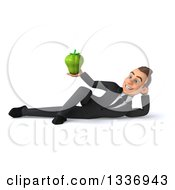 Clipart Of A 3d Young White Businessman Holding A Green Bell Pepper And Resting On His Side Royalty Free Illustration