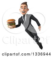 Clipart Of A 3d Young White Businessman Holding A Double Cheeseburger And Flying Royalty Free Illustration