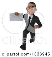 Clipart Of A 3d Young Black Businessman Holding An Envelope And Sprinting Royalty Free Illustration