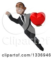 Clipart Of A 3d Young Black Businessman Holding A Red Love Heart And Flying Royalty Free Illustration
