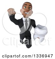 Clipart Of A 3d Young Black Businessman Holding A Tooth And Flying Royalty Free Illustration
