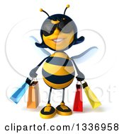 3d Female Bee Wearing Sunglasses And Carrying Shopping Bags