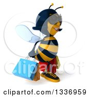 3d Female Bee Wearing Sunglasses Walking To The Right And Carrying Shopping Bags