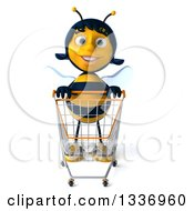 Clipart Of A 3d Female Bee With An Empty Shopping Cart Royalty Free Illustration