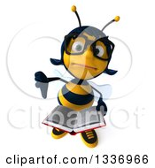 Clipart Of A 3d Bespectacled Female Bee Holding Up A Thumb Down And An Open Book Royalty Free Illustration