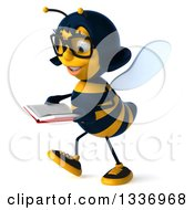 Clipart Of A 3d Bespectacled Female Bee Walking To The Left And Reading A Book Royalty Free Illustration
