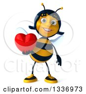Clipart Of A 3d Female Bee Holding A Red Love Heart Royalty Free Illustration