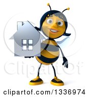 Clipart Of A 3d Female Bee Holding A Chrome House Royalty Free Illustration