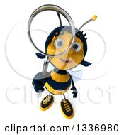 Clipart Of A 3d Female Bee Looking Up And Searching With A Magnifying Glass Royalty Free Illustration