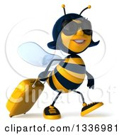 Clipart Of A 3d Female Bee Traveler Wearing Sunglasses And Walking To The Right With A Rolling Suitcase Royalty Free Illustration by Julos