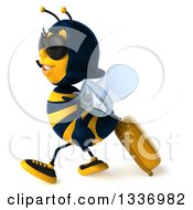 Clipart Of A 3d Female Bee Traveler Wearing Sunglasses And Walking To The Left With A Rolling Suitcase Royalty Free Illustration by Julos