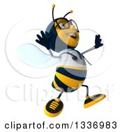 Clipart Of A 3d Happy Bespectacled Bee Doctor Facing Right And Jumping Royalty Free Illustration by Julos