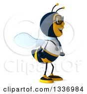 Clipart Of A 3d Happy Bespectacled Bee Doctor Facing Right Royalty Free Illustration by Julos
