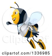Clipart Of A 3d Happy Bee Doctor Flying To The Left Royalty Free Illustration by Julos