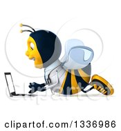 Clipart Of A 3d Happy Bee Doctor Facing Left And Using A Laptop Computer On The Floor Royalty Free Illustration by Julos