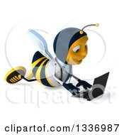 Clipart Of A 3d Happy Bee Doctor Facing Right And Using A Laptop Computer On The Floor Royalty Free Illustration by Julos