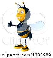 Clipart Of A 3d Happy Business Bee Facing Left And Giving A Thumb Up Royalty Free Illustration by Julos