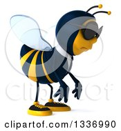 Clipart Of A 3d Sad Business Bee Wearing Sunglasses And Facing Right Royalty Free Illustration by Julos