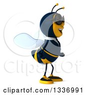Clipart Of A 3d Happy Business Bee Wearing Sunglasses Shrugging And Facing Right Royalty Free Illustration by Julos