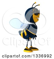 Clipart Of A 3d Happy Business Bee Wearing Sunglasses And Facing Right Royalty Free Illustration by Julos