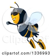 Clipart Of A 3d Happy Business Bee Wearing Sunglasses And Flying To The Left Royalty Free Illustration by Julos