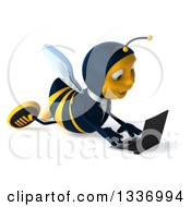 Clipart Of A 3d Happy Business Bee Facing Right And Using A Laptop On The Floor Royalty Free Illustration by Julos