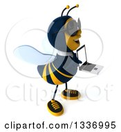 Clipart Of A 3d Happy Business Bee Wearing Sunglasses Facing Right And Holding A Laptop Computer Royalty Free Illustration by Julos
