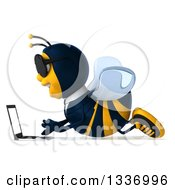Clipart Of A 3d Happy Business Bee Wearing Sunglasses Facing Left And Using A Laptop On The Floor Royalty Free Illustration by Julos