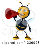 Clipart Of A 3d Happy Business Bee Announcing With A Megaphone Royalty Free Illustration by Julos