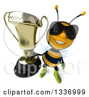 Clipart Of A 3d Happy Gardener Bee Wearing Sunglasses And Holding Up A Trophy Royalty Free Illustration
