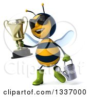 Clipart Of A 3d Happy Gardener Bee Wearing Sunglasses Holding A Watering Can And Walking With A Trophy Royalty Free Illustration