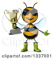 Clipart Of A 3d Happy Gardener Bee Wearing Sunglasses Shrugging And Holding A Trophy Royalty Free Illustration