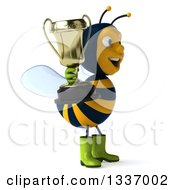 Clipart Of A 3d Happy Gardener Bee Facing Right And Holding A Trophy Royalty Free Illustration