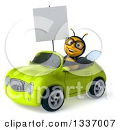 Clipart Of A 3d Happy Bespectacled Male Bee Holding A Blank Sign And Driving A Green Convertible Car 2 Royalty Free Illustration