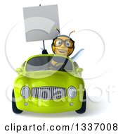 Clipart Of A 3d Happy Bespectacled Male Bee Holding A Blank Sign And Driving A Green Convertible Car Royalty Free Illustration