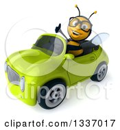 Clipart Of A 3d Happy Bespectacled Male Bee Giving A Thumb Up And Driving A Green Convertible Car 2 Royalty Free Illustration
