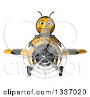 Clipart Of A 3d Happy Male Bee Aviator Pilot Flying A Striped Airplane Royalty Free Illustration