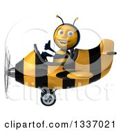 Clipart Of A 3d Happy Male Bee Aviator Pilot Flying A Striped Airplane And Giving A Thumb Up Facing Left Royalty Free Illustration