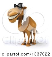 Clipart Of A 3d Arabian Camel Wearing Sunglasses Grinning And Facing Slightly Left Royalty Free Illustration
