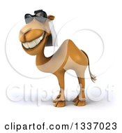 Clipart Of A 3d Arabian Camel Wearing Sunglasses Grinning And Facing Left Royalty Free Illustration