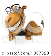 Clipart Of A 3d Bespectacled Business Camel Grinning Over A Sign Royalty Free Illustration