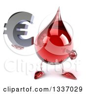 Clipart Of A 3d Hot Water Or Blood Drop Character Holding And Pointing To A Euro Currency Symbol Royalty Free Illustration