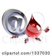 Clipart Of A 3d Hot Water Or Blood Drop Character Holding Up A Thumb And Email Arobase At Symbol Royalty Free Illustration