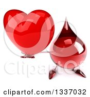 Clipart Of A 3d Hot Water Or Blood Drop Character Holding Up A Red Love Heart Royalty Free Illustration by Julos