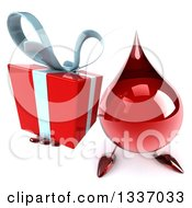 Clipart Of A 3d Hot Water Or Blood Drop Character Holding Up A Gift Royalty Free Illustration