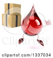 Clipart Of A 3d Hot Water Or Blood Drop Character Jumping And Holding Boxes Royalty Free Illustration