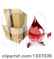Clipart Of A 3d Hot Water Or Blood Drop Character Holding Up A Thumb Down And Boxes Royalty Free Illustration