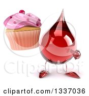 Clipart Of A 3d Hot Water Or Blood Drop Character Holding And Pointing To A Pink Frosted Cupcake Royalty Free Illustration