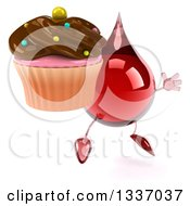 Clipart Of A 3d Hot Water Or Blood Drop Character Facing Slightly Right Jumping And Holding A Chocolate Frosted Cupcake Royalty Free Illustration
