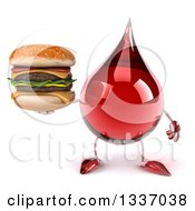 Clipart Of A 3d Hot Water Or Blood Drop Character Holding A Double Cheeseburger Royalty Free Illustration by Julos